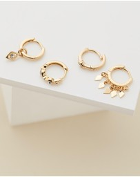 Luv Aj - Evil Eye Gold Hoop Huggie Earring Pack