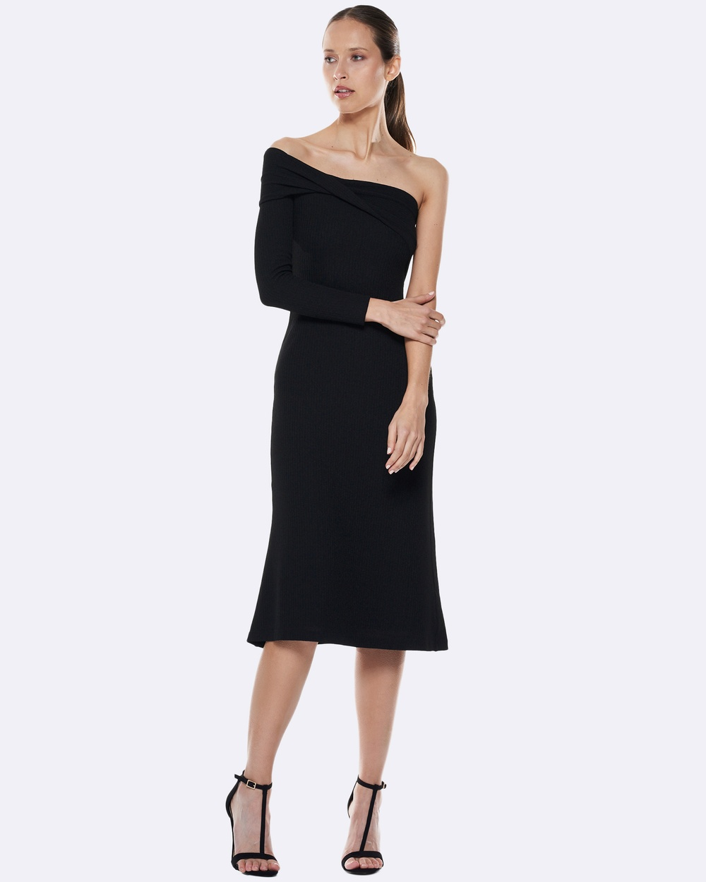 Talulah Mystery Asymetrical Knitted Dress Dresses Black Mystery Asymetrical Knitted Dress
