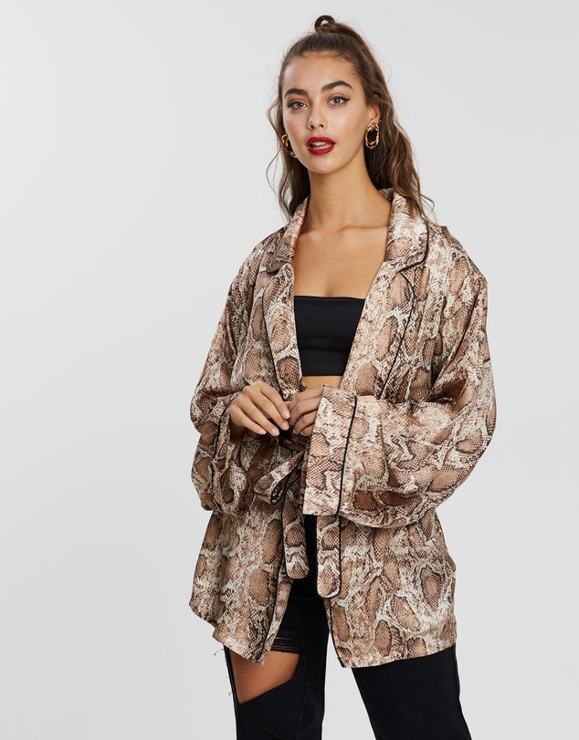 Missguided - Snake Print Satin Robe