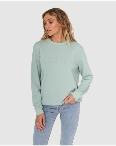 Madison The Label Embossed Sweater Sage