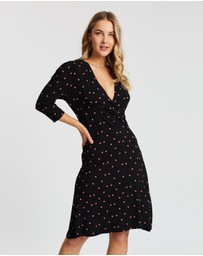 Dorothy Perkins - Square Geo Puff Sleeve Wrap Dress