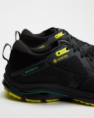 Mizuno Wave Rider GTX   Men's - Performance Shoes (Shadow, Black & Yellow)