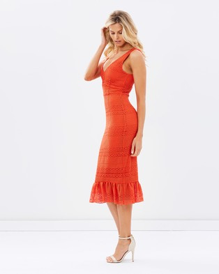 Atmos & Here – Jeanne Ruffle Hem Lace Midi Dress – Dresses (Coral Red)