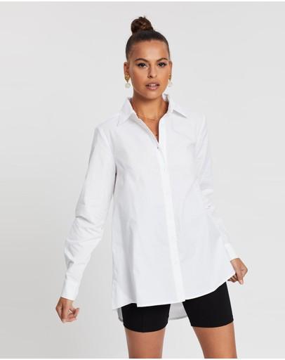 Dazie So Focused Oversized Shirt White