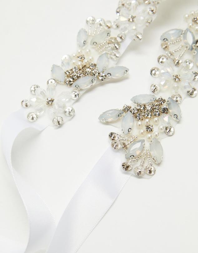 Women Floral Embellished Satin Ribbon Bridal Belt