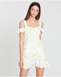 BY JOHNNY. - Daisy Frill Off-the-Shoulder Mini Dress