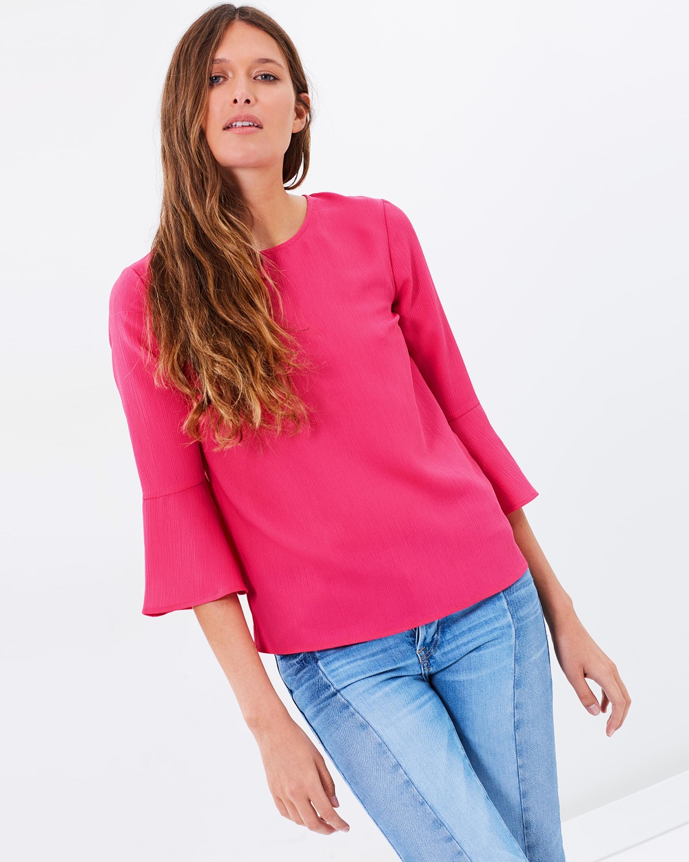 Warehouse Fluted Sleeve Crinkle Top Tops Pink Fluted Sleeve Crinkle Top