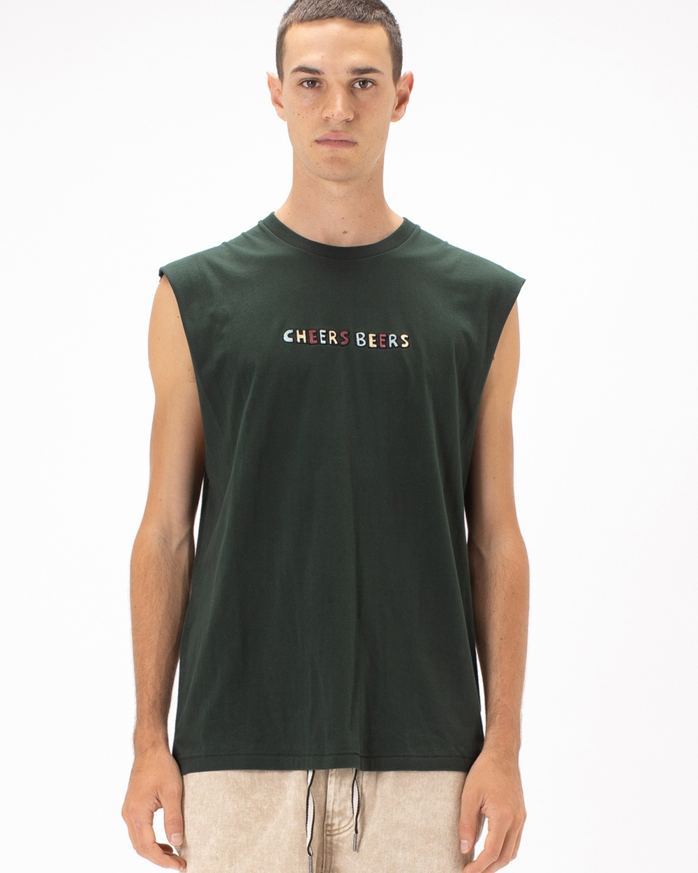 Barney Cools Cheers Beers Muscle Tee Tops Forest Australia