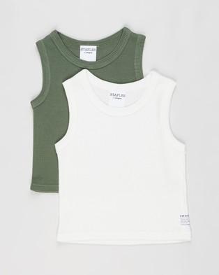 Eve Girl 2 Pack Waffle Tank Kids Teens T-Shirts & Singlets White Khaki 2-Pack Kids-Teens