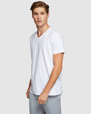 Oxford Peter Stretch V Neck T Shirt - Short Sleeve T-Shirts (White)