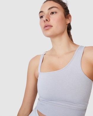 Cotton On Body Active Run With It One Shoulder Vestlette - Crop Tops (Grey Marle)