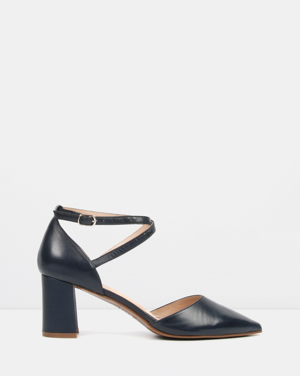 Jo Mercer Iluka Mid Heels Mid-low heels Navy Leather Iluka Mid Heels