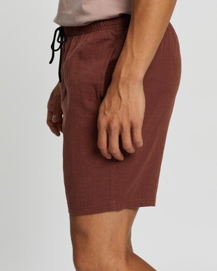 Rusty Overtone Elastic Linen Shorts - Shorts (Root Beer)