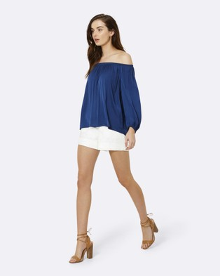 Forever New – Avery Off Shoulder Long Sleeve Top – Tops (Mid Blue)
