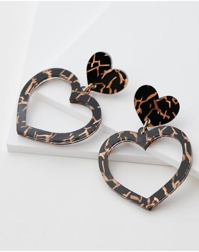 Haus Of Dizzy Tiger Barbie Heart Earrings Black