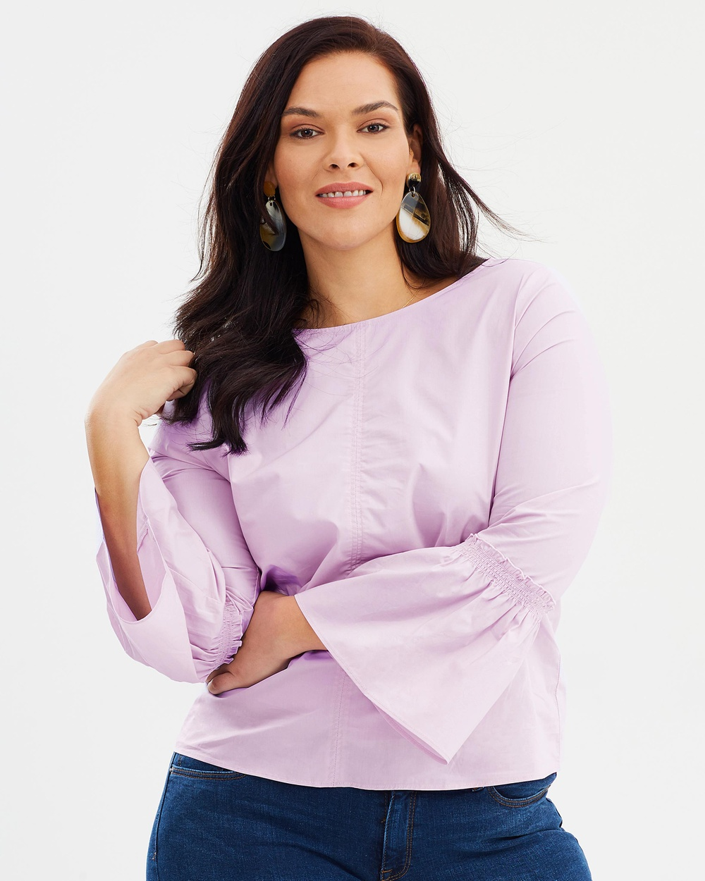 Violeta by MNG Basic Blouse Tops Lilac Basic Blouse