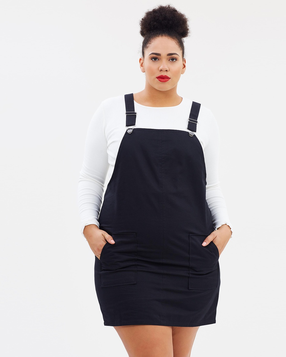 Atmos & Here Curvy ICONIC EXCLUSIVE Atomic Pinafore Dress Dresses Black ICONIC EXCLUSIVE Atomic Pinafore Dress
