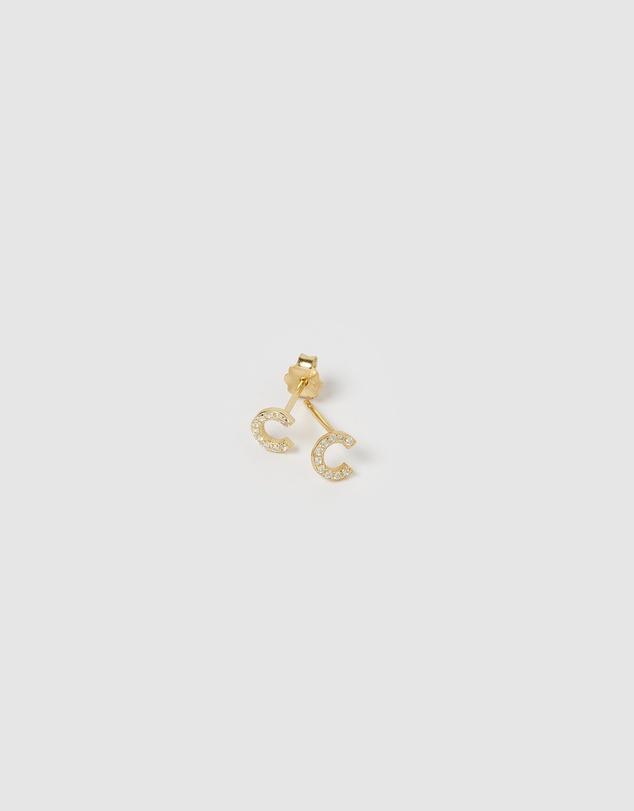 Women Alphabet Mini Letter C Stud Earrings Gold