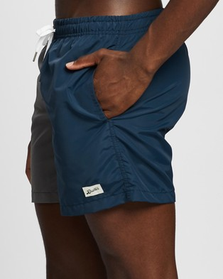 Bather Trunk Co. Solid Colour Block Trunks - Swimwear (Grey & Navy)