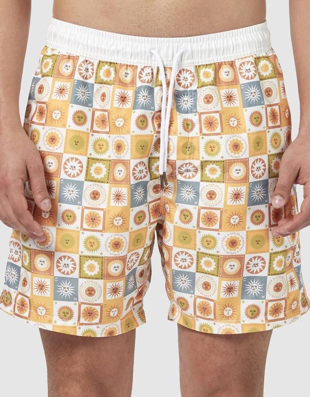 Vintage Men's Swimsuits – 1930s to 1970s History Sunny Daze Swim Shorts AUD 79.95 AT vintagedancer.com