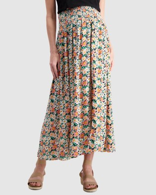 Maive & Bo Shirred Maternity Maxi Skirt - Skirts (Multi)