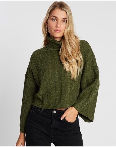 Atmos&here Serena Bell Sleeve Knit Green