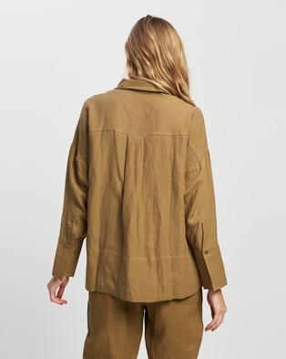 Andrea & Joen Raven Classic Long Sleeve Shirt - Tops (Tan)