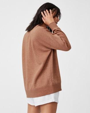 Cotton On Body Active Lifestyle Long Sleeve Crew Top Necks (Chestnut)