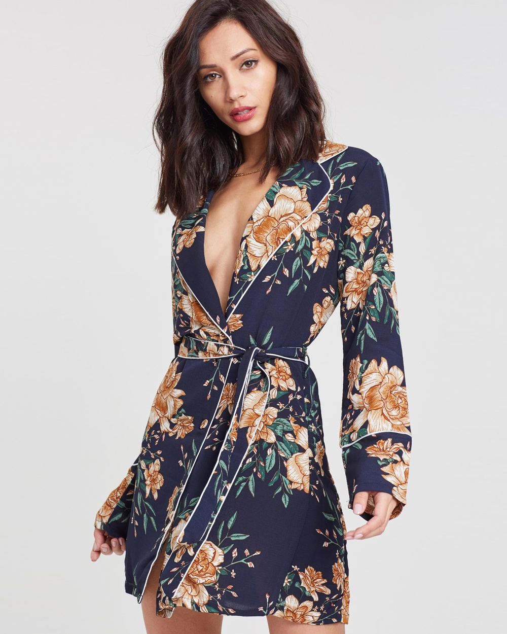 Missguided Ruffle Midi Tea Dress Printed Dresses Navy Ruffle Midi Tea Dress