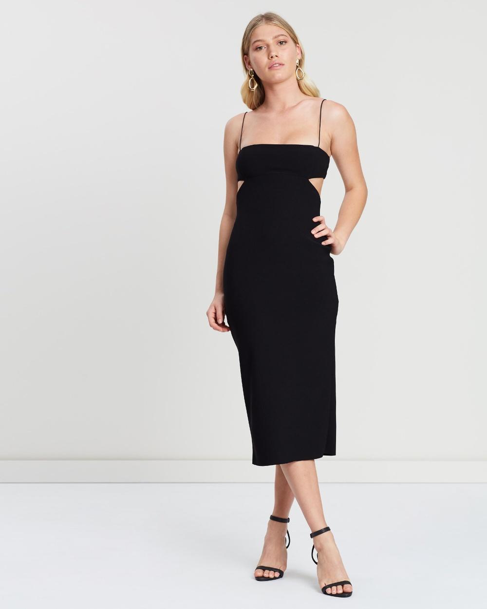 Bec & Bridge Black Elle Cut-Out Midi Dress