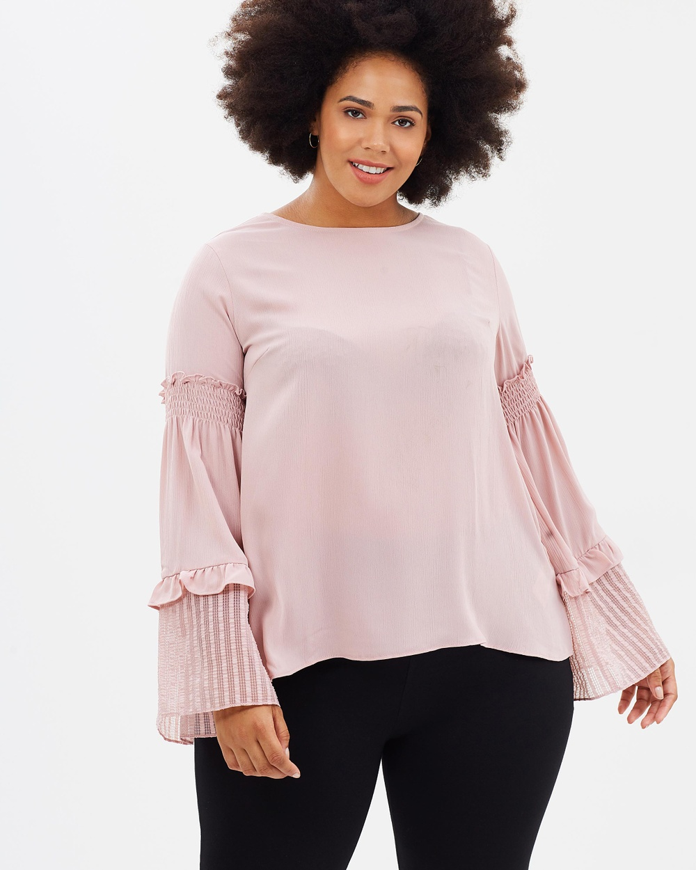 Lost Ink Plus Top with Chiffon Hem and Tie Tops Blush Top with Chiffon Hem and Tie