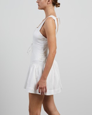 Shona Joy Blanca Lace Up Mini Dress - Dresses (Ivory)