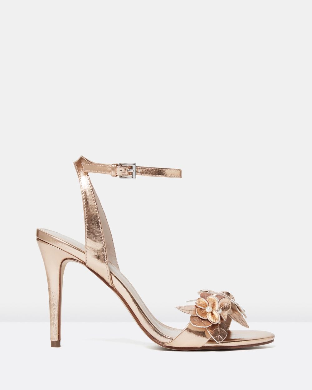 Forever New Jasmine Floral Vamp Stiletto Sandals Heels Rose Gold Jasmine Floral Vamp Stiletto Sandals