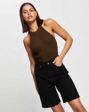 AERE Organic Cotton Mid Shorts High-Waisted Black