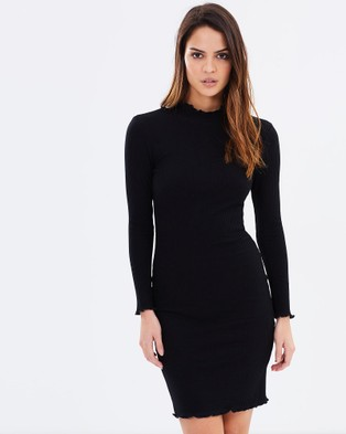 DELPHINE – Intuition Ribbed Dress Black