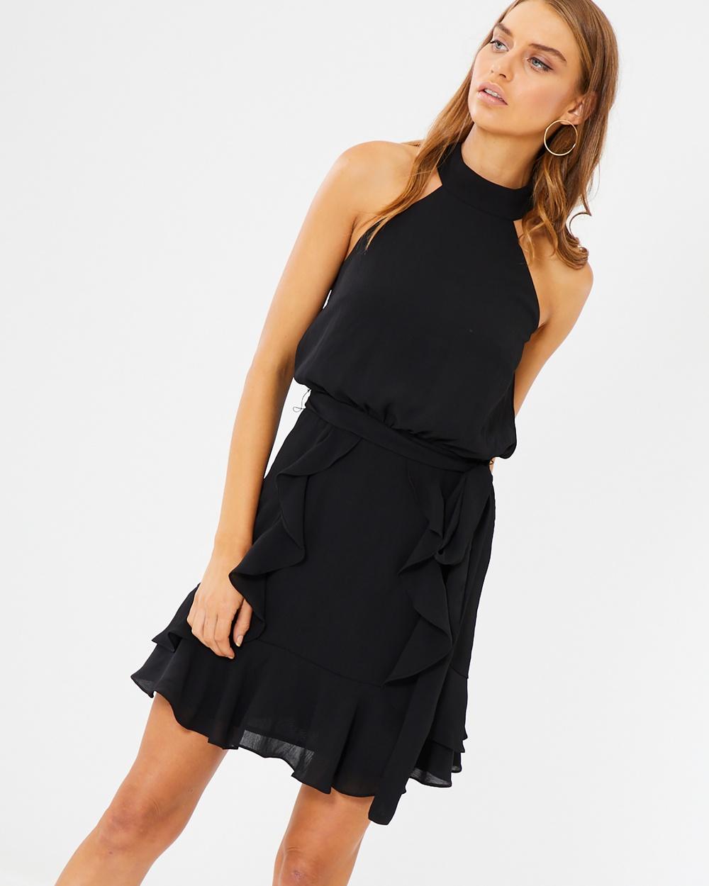 Tussah Izzy Ruffle Dress Dresses Black Izzy Ruffle Dress