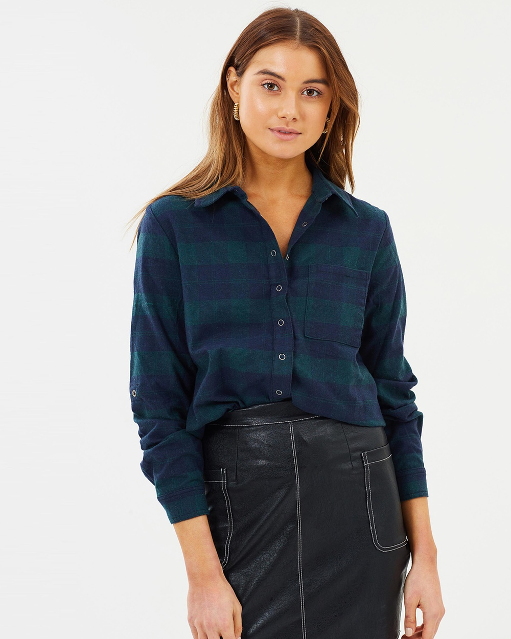 Dazie Aspen Check Shirt Tops Green & Navy Check Aspen Check Shirt