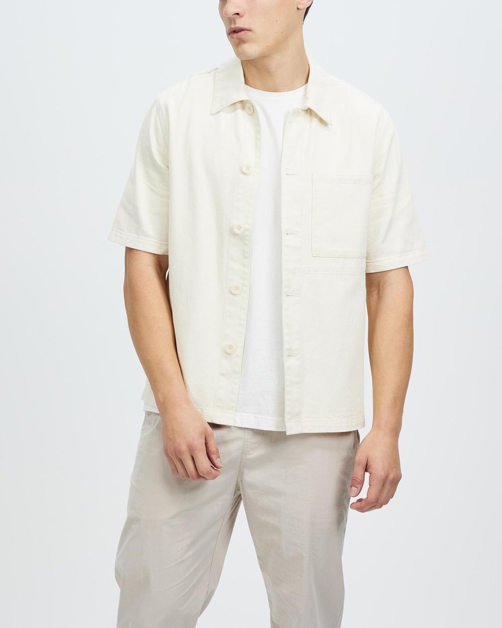 AERE Organic Twill SS Overshirt Casual shirts White