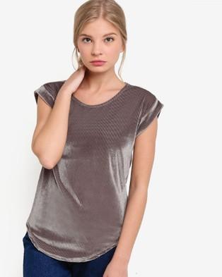 BoyFromBlighty – Corduroy Velvet Effect Tunic Top – Tops (Grey)