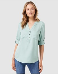 Forever New - Mika Popover Roll Sleeve Shirt