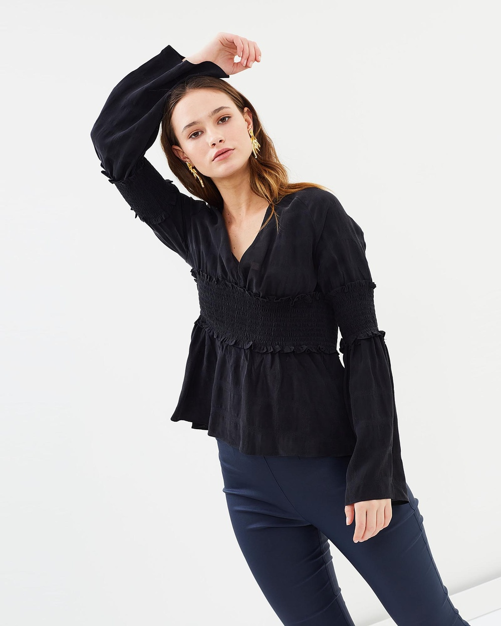 IMONNI Malay Textured Top Tops Black Malay Textured Top