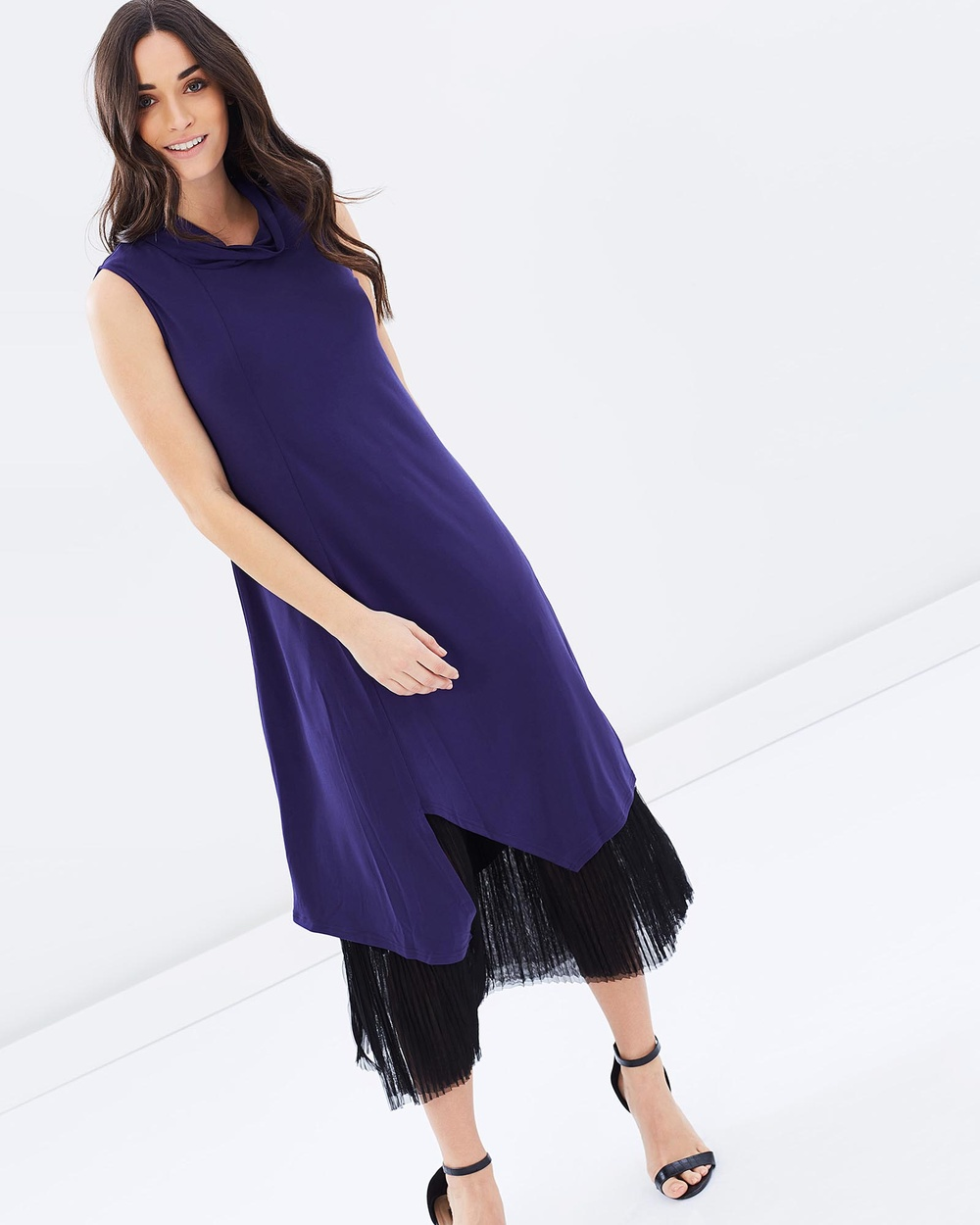 Faye Black Label Grandeur Layered Pleat Dress Dresses Regal Navy Grandeur Layered Pleat Dress