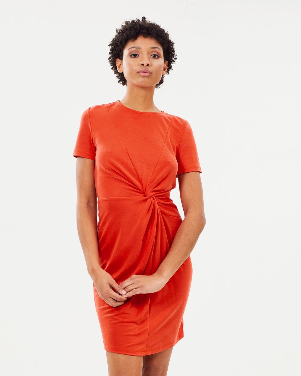 Warehouse Slinky Twist Dress Dresses Rust Slinky Twist Dress