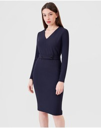 ARIS - Long Sleeve Snap Belt V-Neck Dress