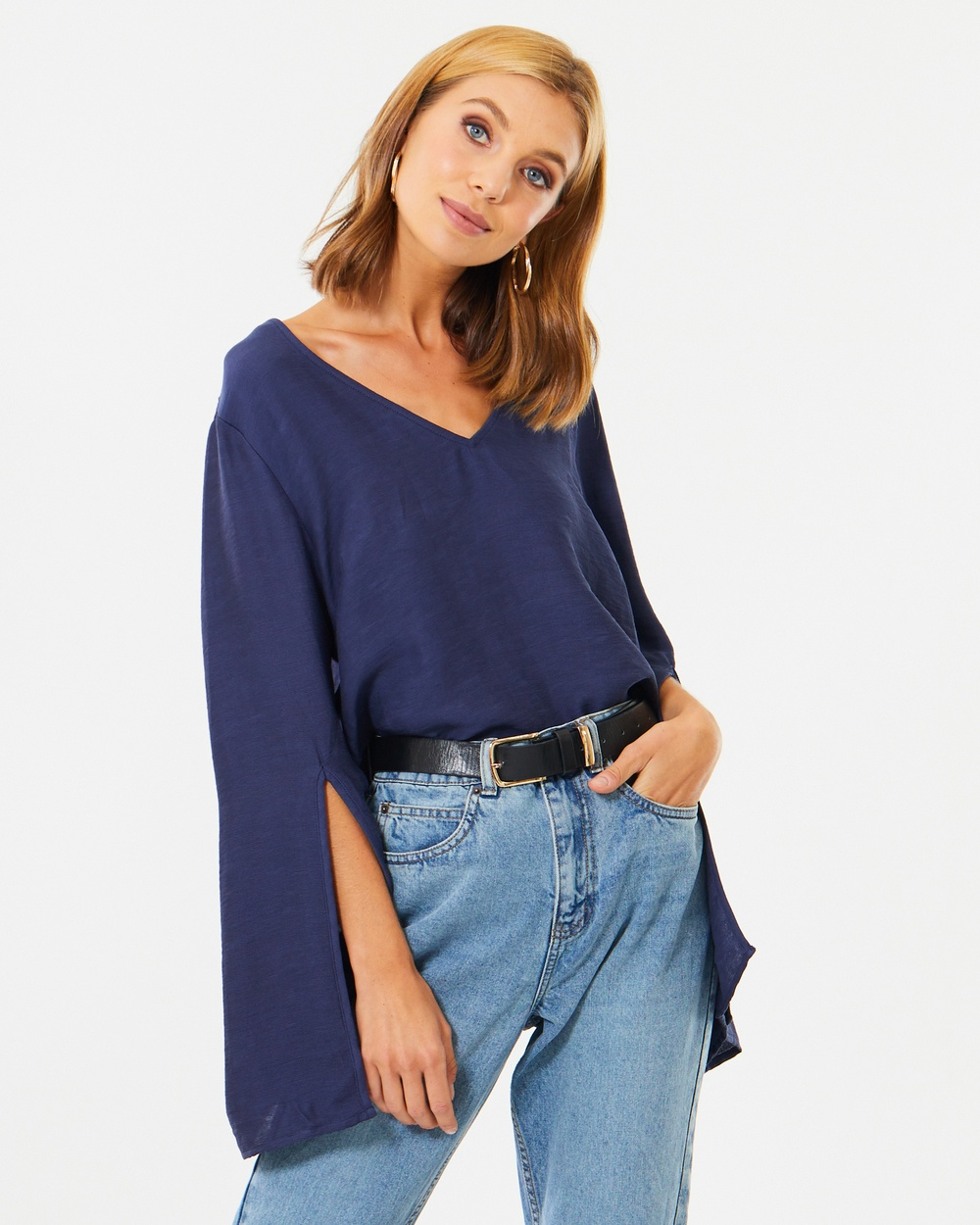 Calli Athea Split Sleeve Top Tops Navy Athea Split-Sleeve Top