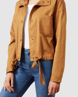 French Connection Cropped Jacket - Coats & Jackets (MUSTARD)