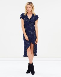 Celestial Frill Sleeve Wrap Midi Dress