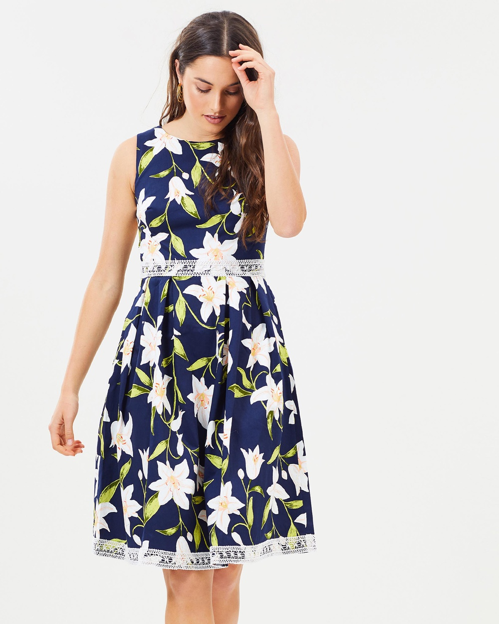 Dorothy Perkins Lily Cotton Midi Dress Dresses Navy Blue Lily Cotton Midi Dress