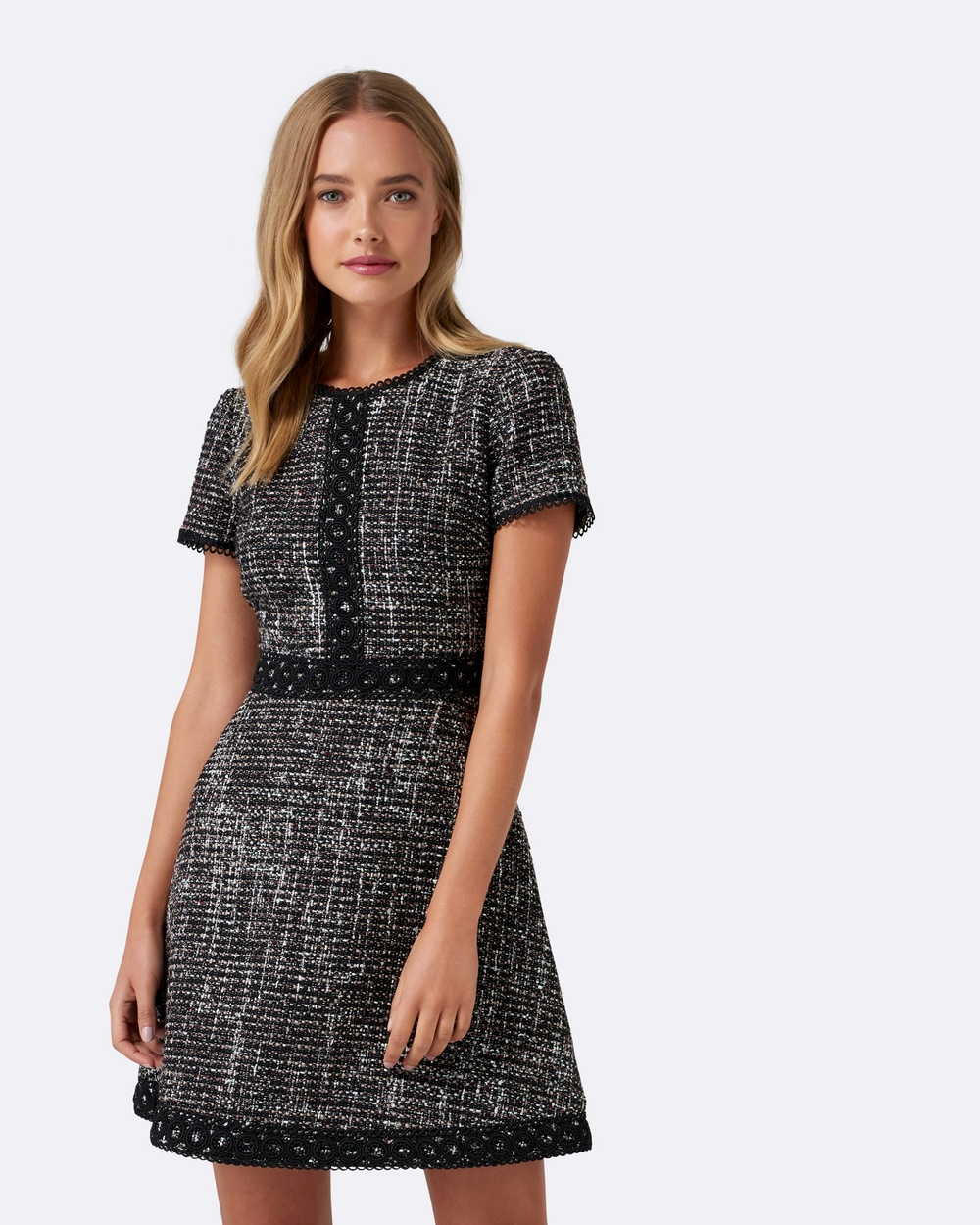 Forever New Robyn Boucle Fit and Flare Dress Dresses Black Robyn Boucle Fit and Flare Dress