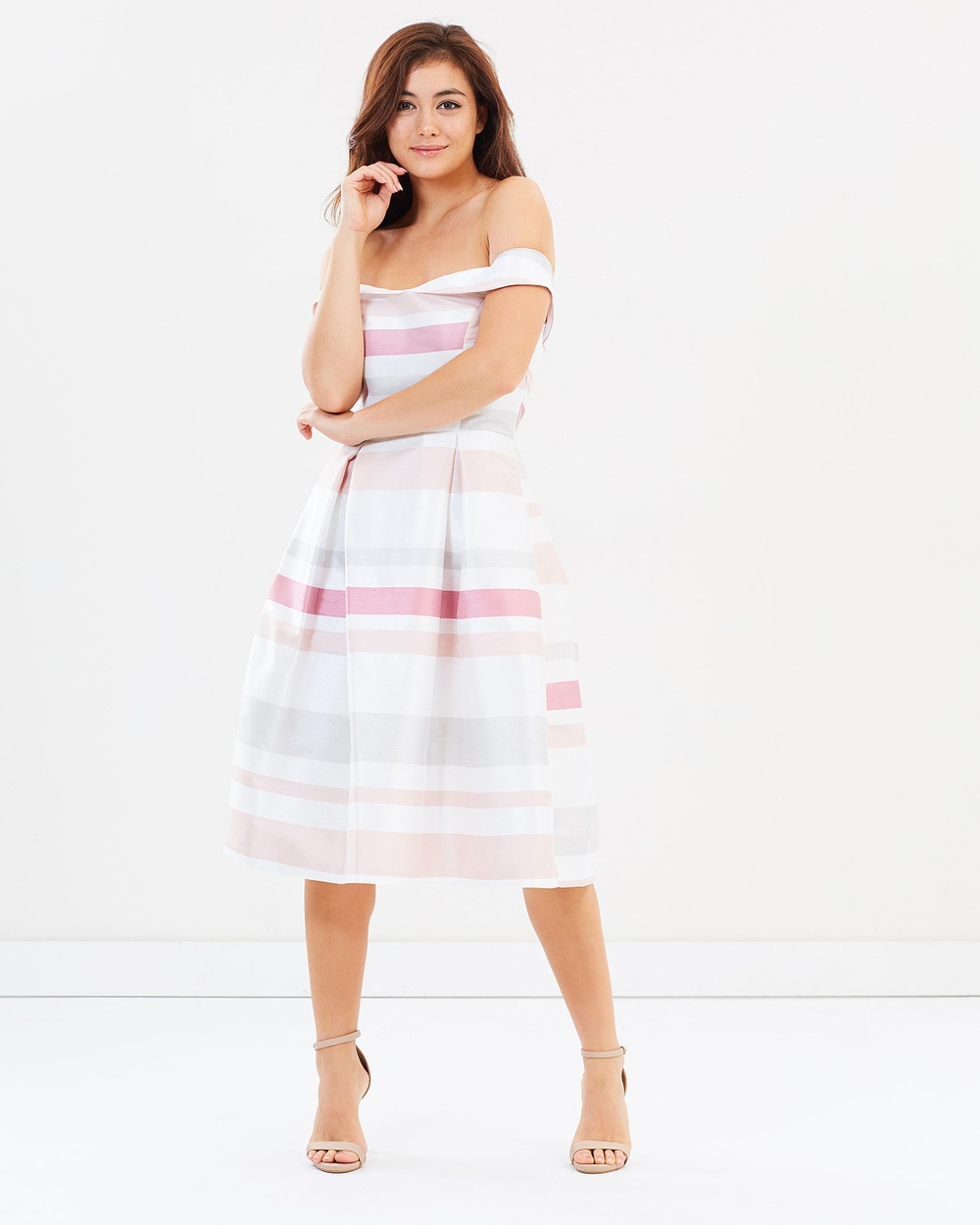 Dorothy Perkins Stripe Taffeta Bardot Prom Dress Dresses Multibright Stripe Taffeta Bardot Prom Dress